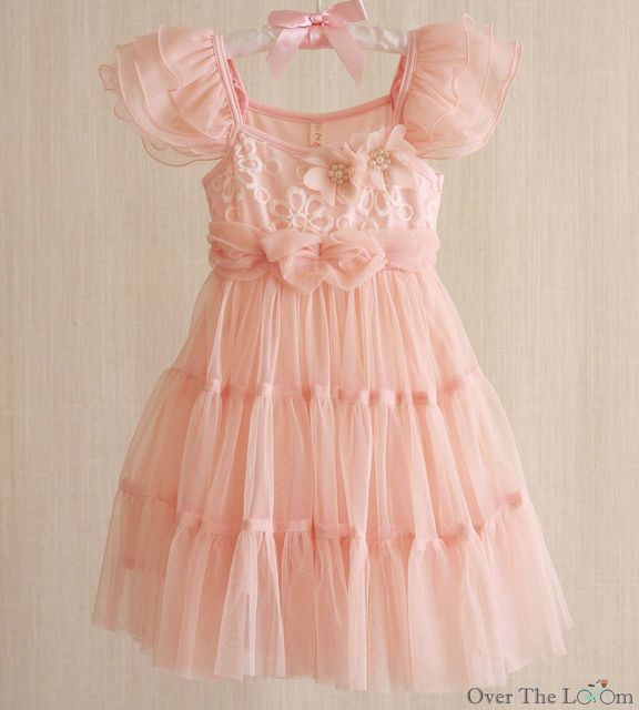 Peach Ruffle Sleeve Tiered Dress