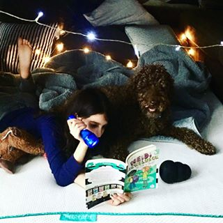 Sundays: perfect for making a #fort and having a #lazyday 💗 #thesnuggleisreal #cuddleup #becozy #fort #byobmattresstopper #read #book #bookstagram #dog #cuddleupwiththepup #napqueen #gangstanapper #namasteinbed #afternoonnap #ilovemybed #sleephappy #mattress #bed #bedinabox #sundayfunday #instasleep #morethanamattress #getsleepenvie