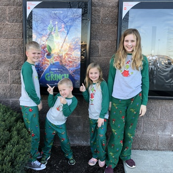 14907a34d7 Grinch movie in our Grinch pjs!