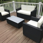 On Outsunny 4 Piece Outdoor Rattan Wicker Patio Furniture Loveseat Set
