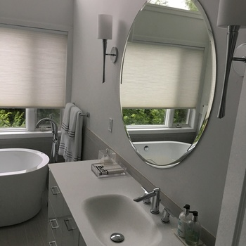 Fab Glass and Mirror Round Beveled Polished Frameless Wall Mirror with  Hooks My contractor put it