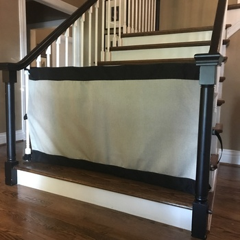 Custom Banister To Banister Fabric Safety Gate (9 Fabric Options) Hard To  Fit Stair