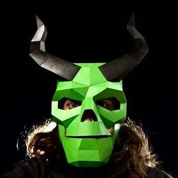 horned skull mask green skull for halloween