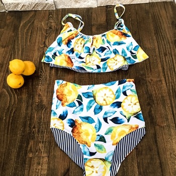 b0a67c5110 Summer Lemon Falbala Bikini Set Amazing Quality