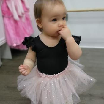 47e17d010922 Black Leotard Flutter Ruffle Short Sleeve for Toddler and Girls ...
