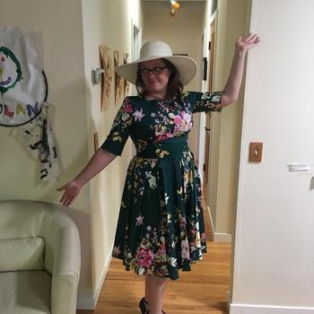 806bd0924be Vintage Deep Green Seville Floral Half Sleeve Hepburn Swing Dress  Beautiful