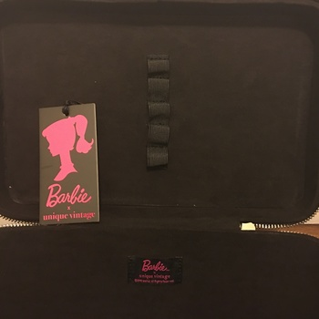 e4868abca97d Barbie X Unique Vintage Black Patent Leatherette   Illustration Train Case  Smart  amp  Stylish