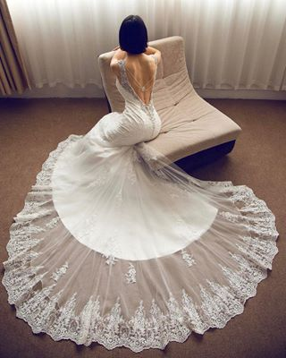 Trumpet-Mermaid Tulle Lace Open Back Wedding Dress LD3905 | Cocomelody