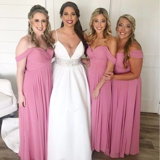 195a17eb72fe Bride Christina went pretty in pink for her bridesmaids with style 2970. 📷  @