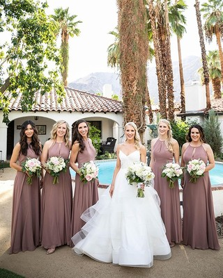 240e115e52cb A fabulous @palmsprings wedding with Dessy lux chiffon style 1502 in  Sienna. 📸 @
