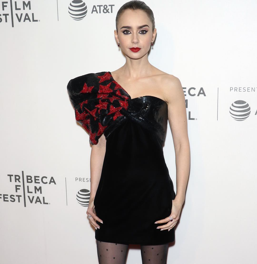 @lilyjcollins and this @ysl dress = two stars.