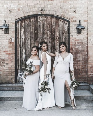 1016bbe9865a Stunning bridesmaids in Dessy Stretch Crepe styles. 📷 @thelovestudio_ . .  . #DessyRealWeddings
