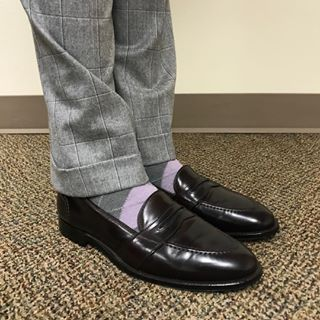 16af2cae6f37c9 Alden Color 8 Shell Cordovan Full Strap Loafers. JCrew Gray and Purple  Argyle Socks.